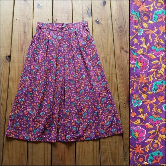 4fb3cd3dc Vintage 80's 90's 11/12 purple floral midi skirt. M_5ad5243efcdc31bb8bd649ef